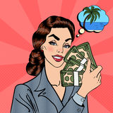 Excited Business Woman Holding Dollars. Pop Art Stock Photos