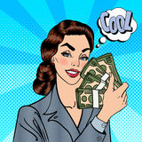 Excited Business Woman Holding Dollars. Pop Art Stock Photo