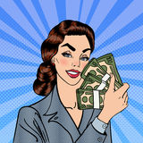 Excited Business Woman Holding Dollars. Pop Art Royalty Free Stock Image