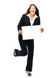 Excited business woman holding sign Royalty Free Stock Photos