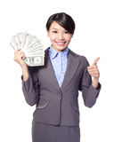 Excited business woman with money Royalty Free Stock Image