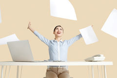 Excited business woman. In office Royalty Free Stock Photography