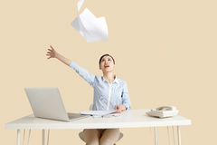 Excited business woman. In the office Stock Photo
