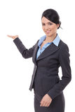 Excited business  woman presenting Royalty Free Stock Photos