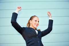 Excited business woman rejoicing her success Stock Images