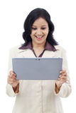 Excited business woman with tablet Royalty Free Stock Photography