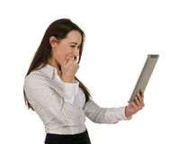 Excited business woman with tablet computer Stock Photo