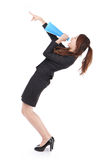 Excited business woman yelling through megaphone. And finger point up with full length isolated on white background, model is a asian woman Stock Images