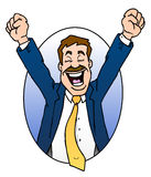Excited Businessman. This is a cartoon illustration of a very excited business man with his arms raised in joy.  The feeling of success Royalty Free Stock Photography