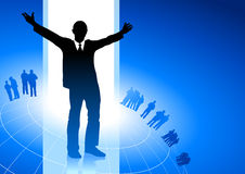 Excited businessman blue internet backgrou Stock Photos