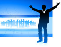 Excited businessman on blue internet background Royalty Free Stock Images