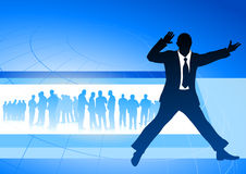 Excited businessman on blue internet background Stock Image