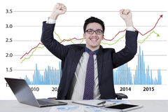 Excited businessman with business growth chart Royalty Free Stock Images
