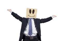Excited businessman with cardboard head Stock Photos