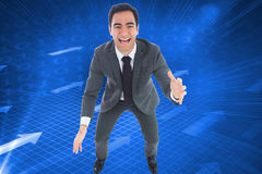 Excited businessman catching Stock Image