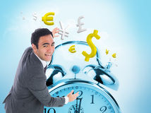Excited businessman catching Stock Photos