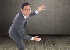 Excited businessman catching Royalty Free Stock Photo