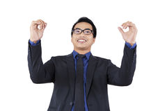 Excited businessman celebrate his achievement Royalty Free Stock Image