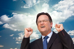 Excited Businessman Expresses His Excitement Royalty Free Stock Images