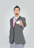 Excited businessman with facial hair showing business card Royalty Free Stock Photo