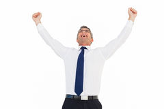 Excited businessman with glasses cheering Stock Images