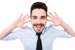 Excited businessman. Royalty Free Stock Images