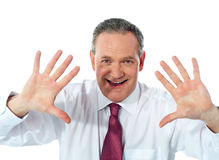 Excited businessman. Joyful nature Stock Photo
