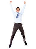 Excited businessman jumping Royalty Free Stock Photos