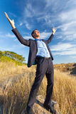 Excited businessman outdoors Stock Images