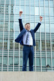 Excited businessman raising his arms Stock Photo