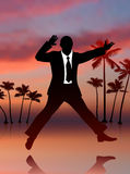 Excited Businessman on Sky Background Stock Photo
