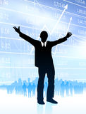 Excited businessman with skyline and graph Royalty Free Stock Image