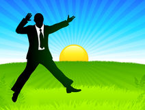 Excited Businessman on Sunrise Background Royalty Free Stock Images