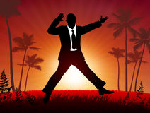Excited businessman on sunset background Stock Photos
