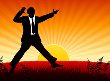 Excited Businessman on Sunset Background Royalty Free Stock Photos