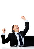 Excited businessman winning Stock Photography