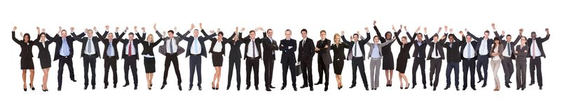 Excited businesspeople celebrating success Stock Images