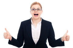 Excited businesswoman Royalty Free Stock Images