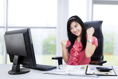 Excited businesswoman celebrating her success 1 Royalty Free Stock Photography