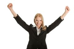Excited businesswoman celebrating success Royalty Free Stock Photos