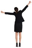 Excited businesswoman cheering Stock Photo