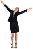 Excited businesswoman cheering Royalty Free Stock Images