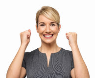 Excited Businesswoman Clenching Fists Stock Images