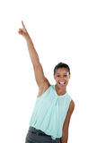 Excited businesswoman dancing against white background Royalty Free Stock Photography