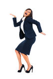 Excited businesswoman dancing Royalty Free Stock Photo