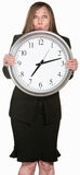 Excited Businesswoman Holding a Clock Royalty Free Stock Images