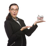 Excited Businesswoman Holding Small House to the Side Stock Photos