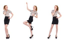 The excited businesswoman isolated on white Royalty Free Stock Photography
