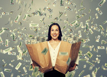 Excited businesswoman with money Royalty Free Stock Photography