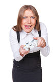 Excited businesswoman playing a video game Royalty Free Stock Image